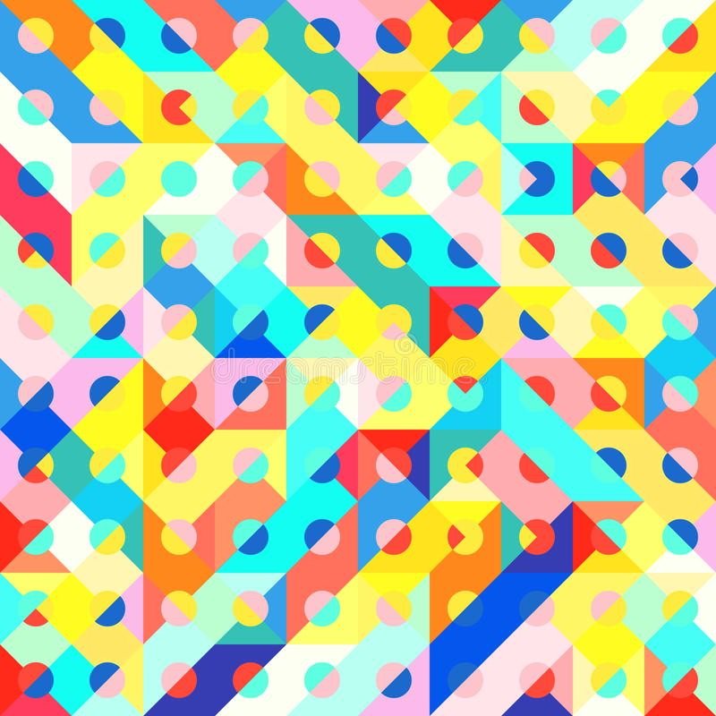 Fun Fashion Geometric Pop Art 1980 Style Pattern. Abstract 1980 Memphis Geometric Pop Art Pattern, Fashion Urban Backdrop for Textile, Wrapping Paper, Trendy stock illustration