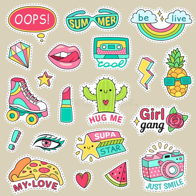 Fun fashion teenage stickers. Cute cartoons patches for teenager. Sticker pack vector illustration set vector illustration
