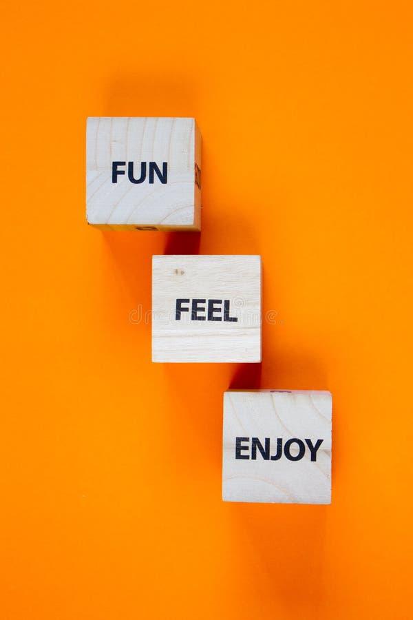 Fun, Feel, Njut av ord på träkubikens sidor på en grön bakgrund, selektiv fokus royaltyfri fotografi