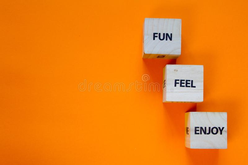 Fun, Feel, Njut av ord på träkubikens sidor på en grön bakgrund, selektiv fokus royaltyfri bild