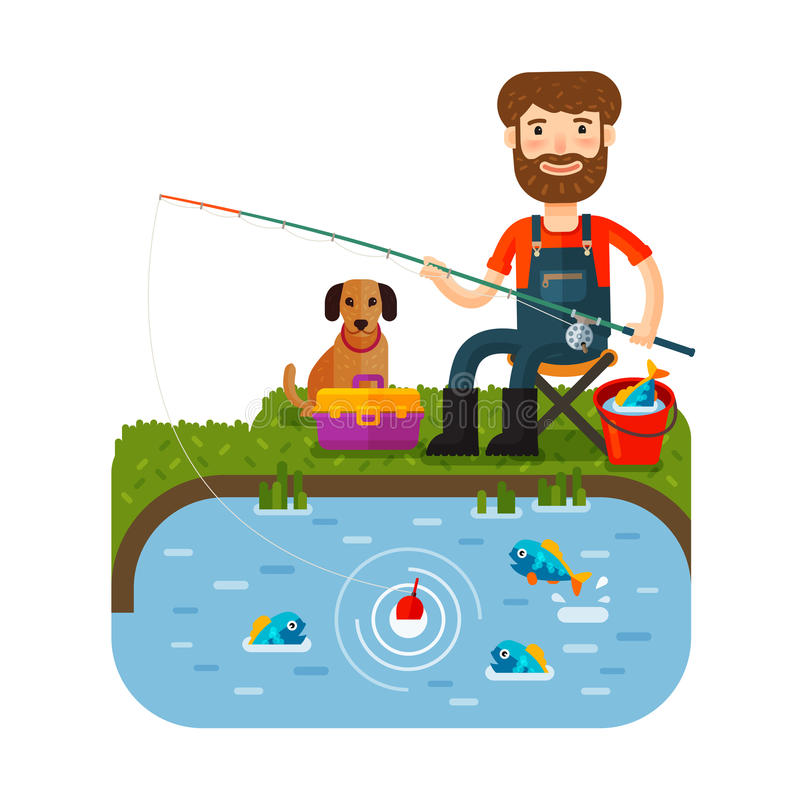 Fun fisherman catches fish. Fishing rod. Cartoon flat style. Vector illustration stock illustration