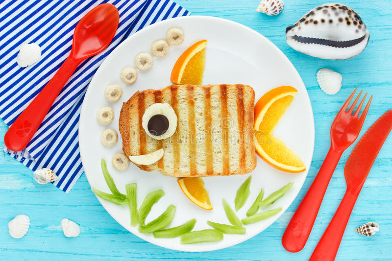 Fun food art for kids creative sandwich goldfish royalty free stock photo