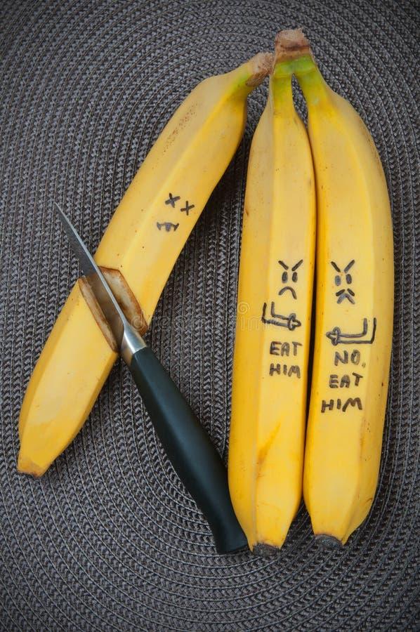 Fun food. Banana group. Fun food. Creative food. Food for kids. Banana group royalty free stock images