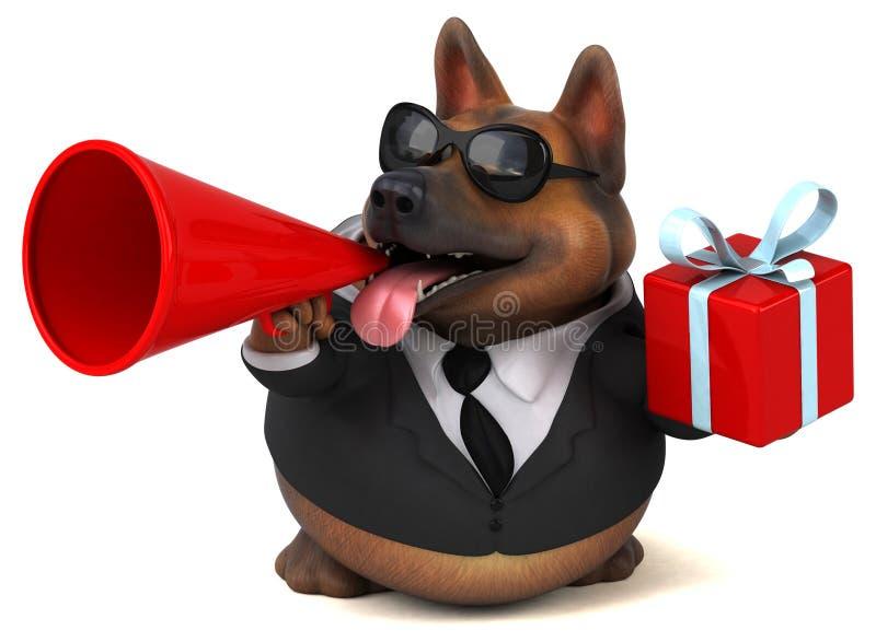 Fun german shepherd dog - 3D Illustration stock illustration