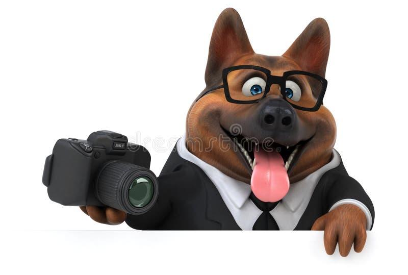 Fun german shepherd dog - 3D Illustration vector illustration