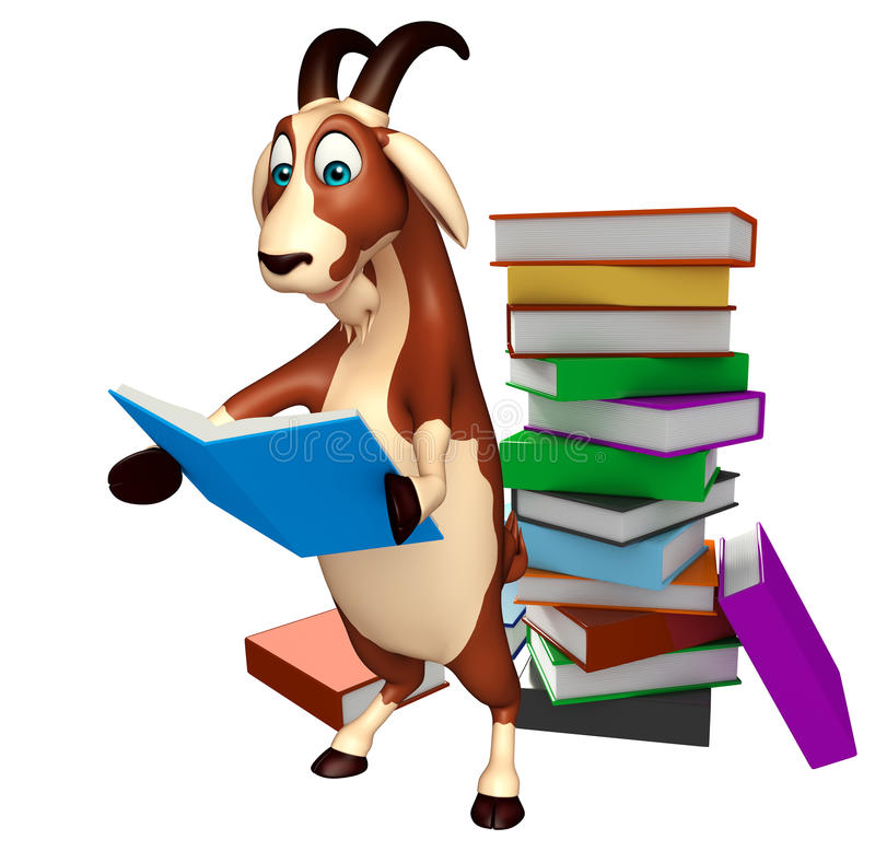 fun goat cartoon character with book stack stock illustration rh dreamstime com Lion Clip Art Pig Clip Art