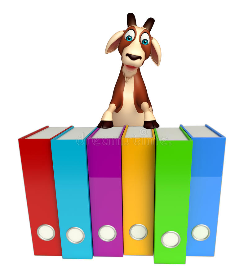 Fun Goat cartoon character with clock. 3d rendered illustration of Goat cartoon character with clock stock illustration