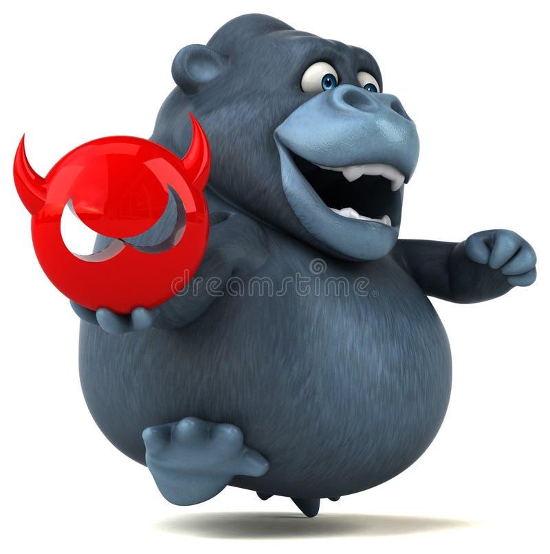 Fun gorilla - 3D Illustration royalty free illustration