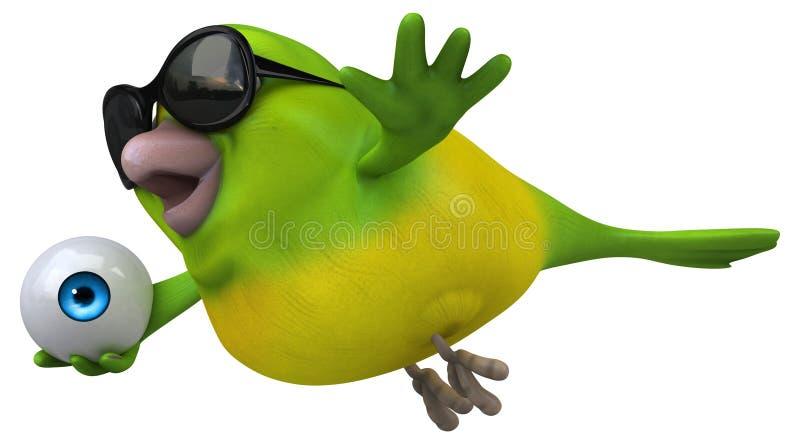 Fun green bird - 3D Illustration vector illustration