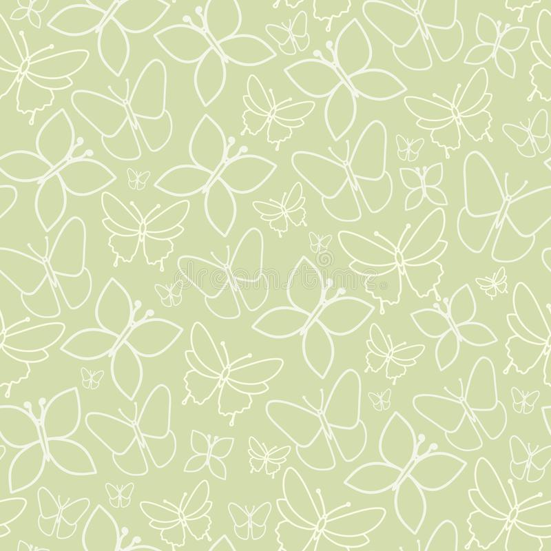 Fun Green Butterfly  Seamless Pattern Texture. Vector Green Spring Tea Party Seamless Pattern Background Perfect for Fabric, Scrapbooking and Wallpaper Projects vector illustration