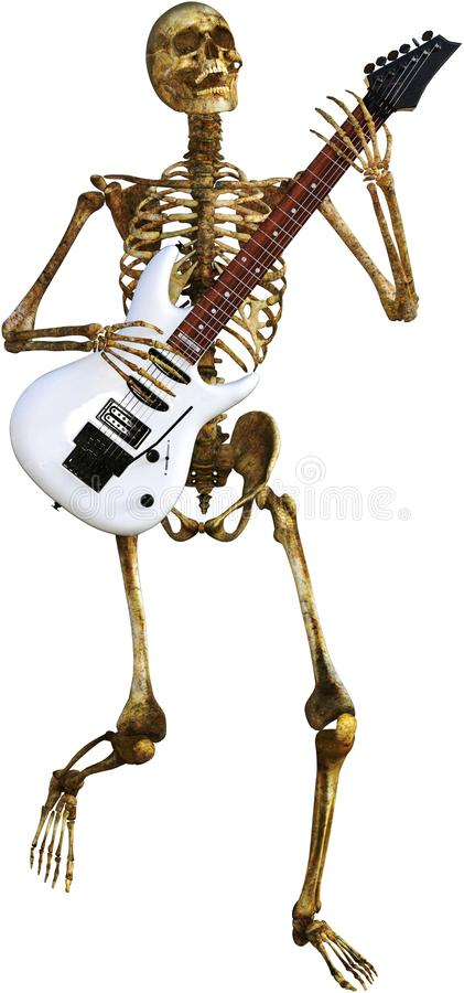 Skeleton Playing Electric Guitar Isolated royalty free stock photos