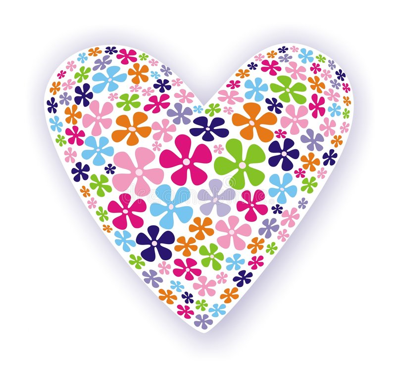 Fun heart. Illustration of white heart with lilac shadow filled with fun multicoloured flowers could be used as greetings card stock illustration