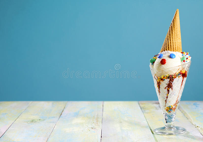 Fun ice cream sundae for a kids party royalty free stock photography