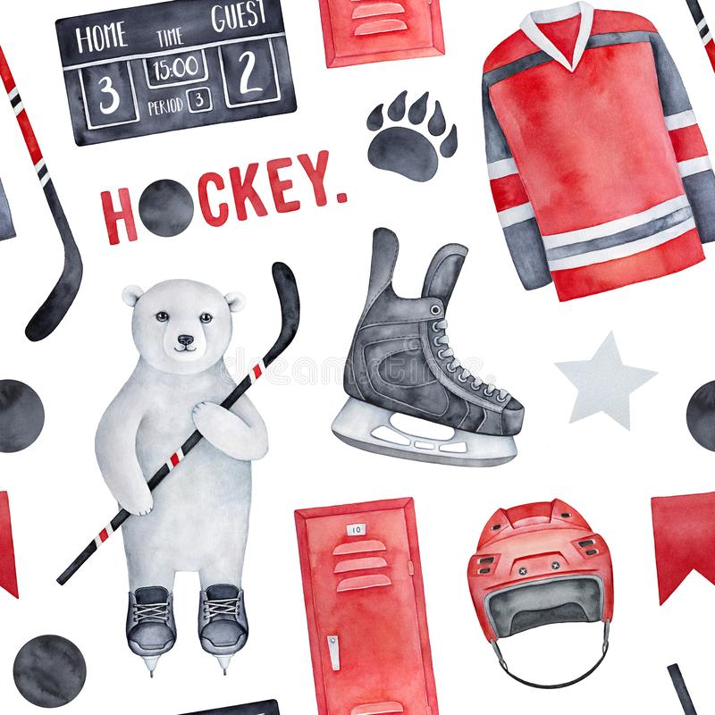 Fun ice hockey theme seamless pattern. vector illustration