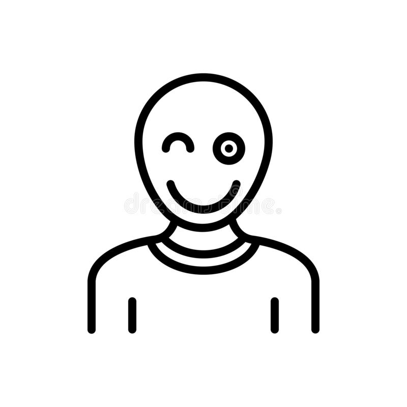 Black line icon for Fun, mockery and entertainment. Black line icon for  Fun, mockery entertainment  , banter,  jest,  snickers,  mot,  epigram, amusement  and royalty free illustration