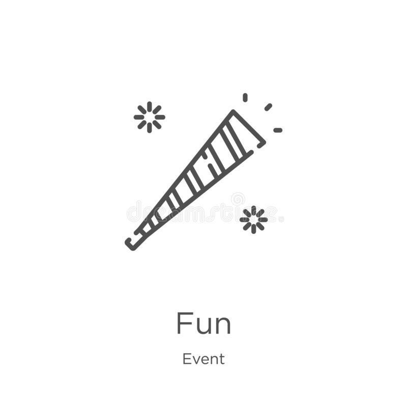 fun icon vector from event collection. Thin line fun outline icon vector illustration. Outline, thin line fun icon for website royalty free illustration