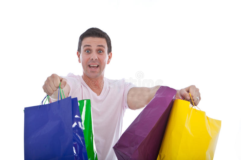 Fun image of an excited male shopper stock images