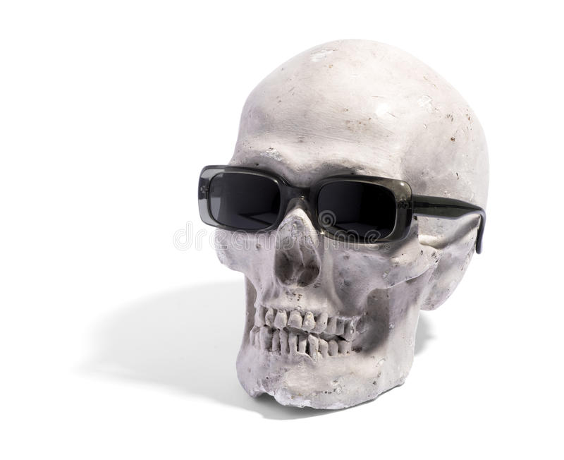 Fun image of a skull wearing sunglasses royalty free stock images