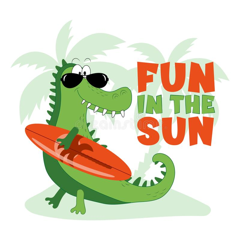 Free Fun In The Sun - Happy Summer Slogan With Cute Crocodile Or Alligator. Royalty Free Stock Images - 218146729