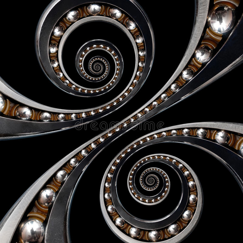 Fun incredible Industrial Ball Bearing. Double spiral effect technology black background. Funny abstract texture fractal royalty free stock image