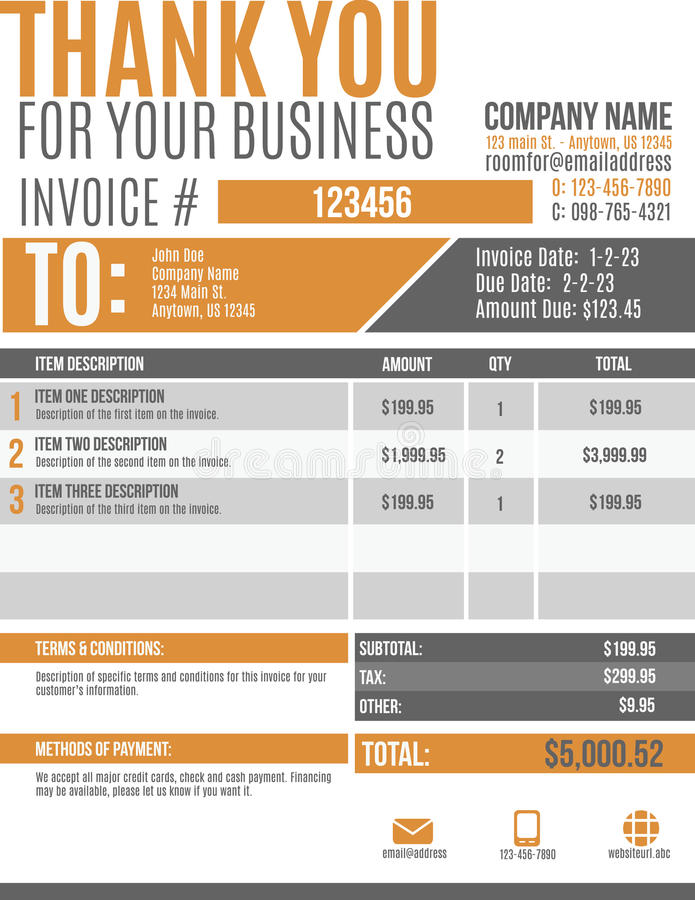 Fun Invoice Template Design Stock Vector Illustration Of Blank