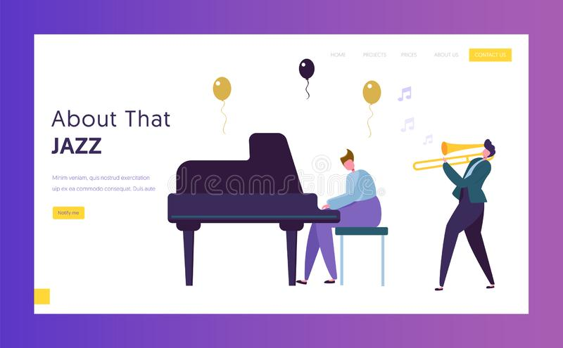 Fun Jazz Performance Concept Landing Page. Musician Male Character with Musical Instrument Piano Trumpet Play Music. Colorful Band vector illustration
