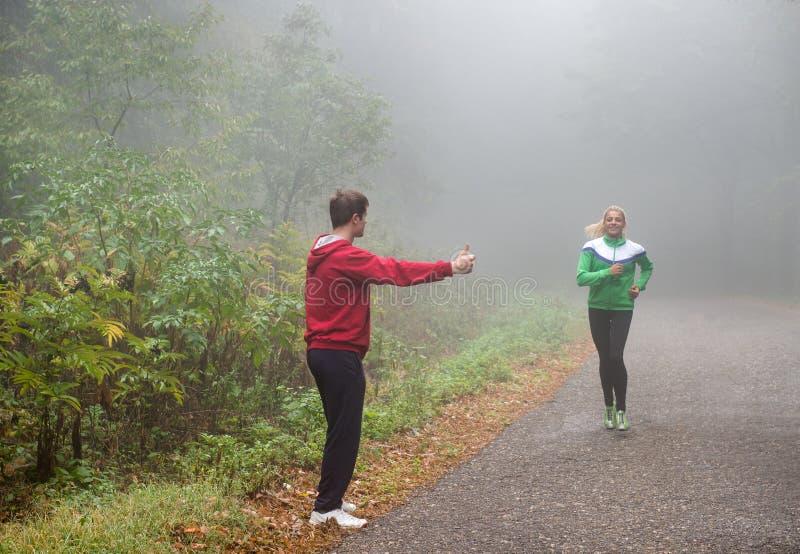 Download Fun jogging stock image. Image of adult, october, leaf - 28841865