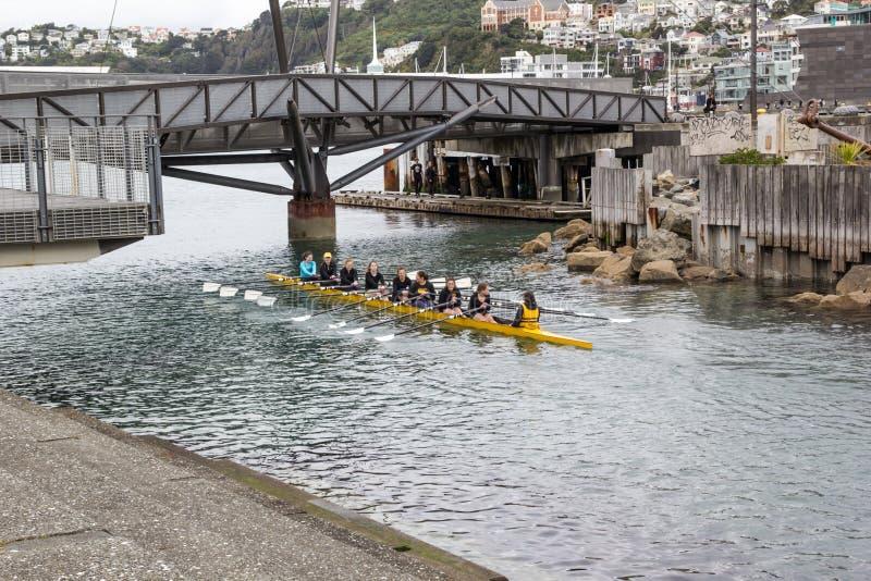 Fun kayaking with teenagers stock photo