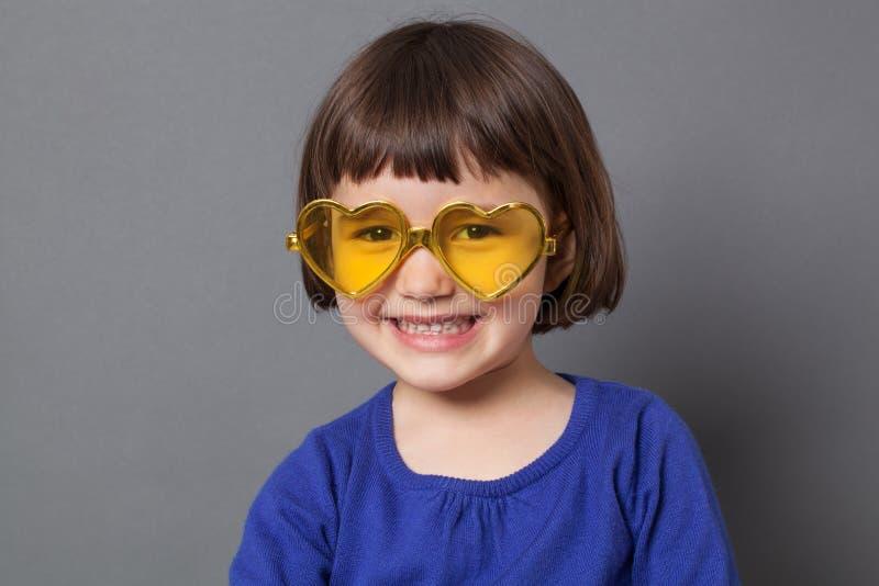 Fun kid glasses concept for love stock photo