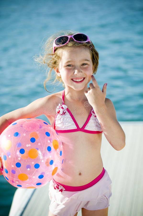 Fun at the lake young girl stock images