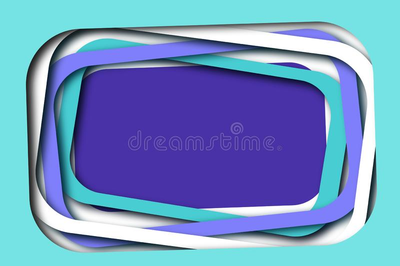 Fun Layered Frames Background. Cyan, White, Purple. royalty free stock photos