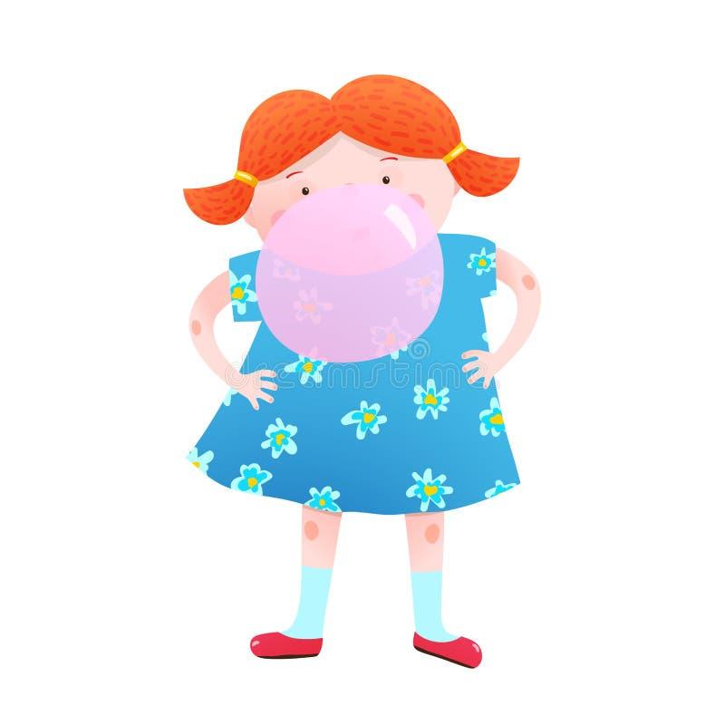 Little girl and chewing gum bubble fun. Fun little girl blowing a bubble from chewing gum colorful cartoon. Vector illustration stock illustration