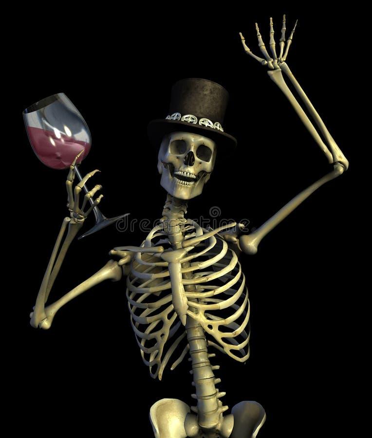 Fun Loving Party Skeleton - on black stock illustration