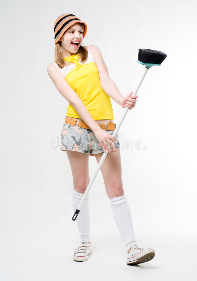 Fun maid stock photos