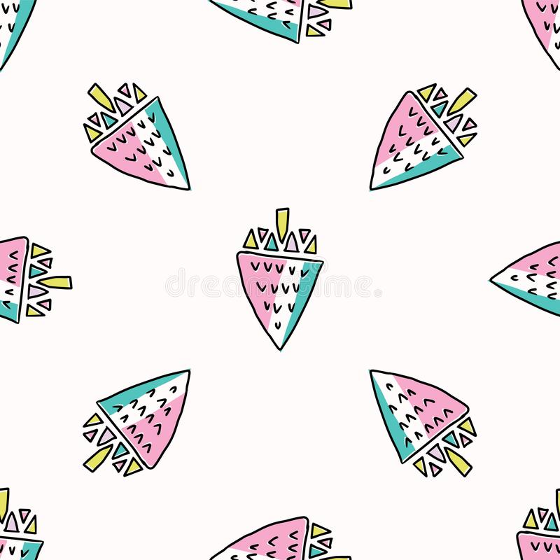 Free Fun Memphis Strawberry Pattern, Seamless Vector Background Illustration Stock Image - 127426951