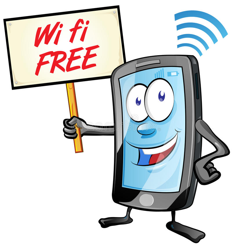 Fun mobile cartoon with wi fi signboard. Isolated on white stock illustration
