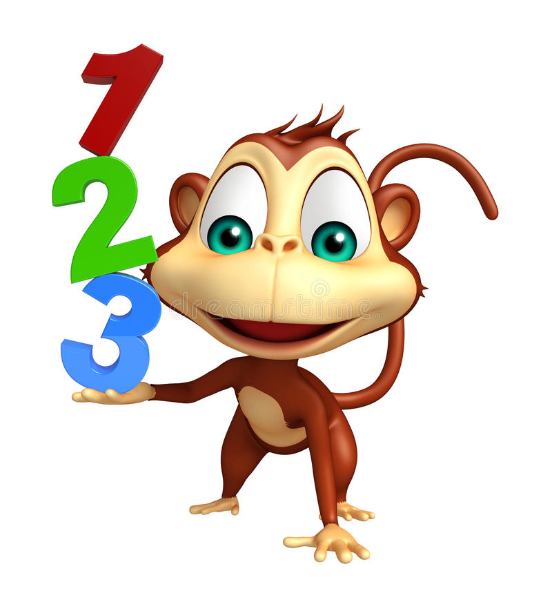 Fun Monkey cartoon character with 123 sign royalty free illustration