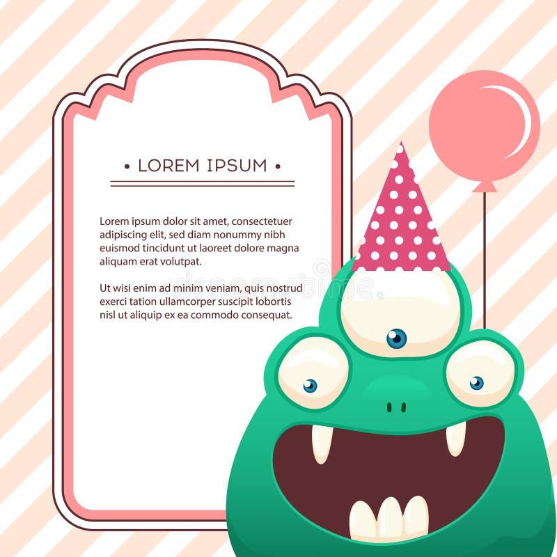 Fun monsters happy birthday card. monster party invitation card design. Vector art. vector illustration