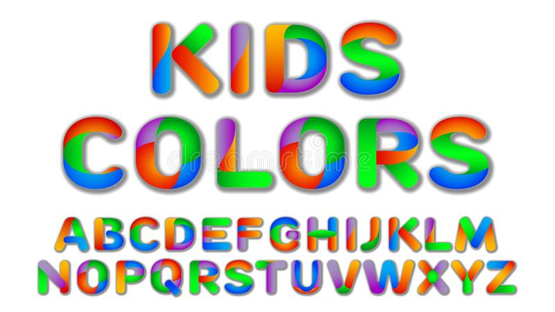 Download Fun Multi Color Kids Custom Font Stock Vector