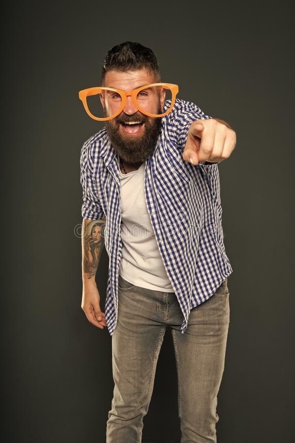 Only fun on my mind. Bearded man wearing party glasses. Funny hipster in extravagant glasses. Fashion man with beard royalty free stock photography