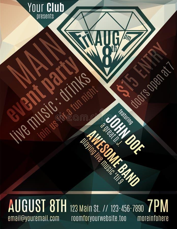 Fun night club flyer template. Funky minimalist flyer for a night club event stock illustration