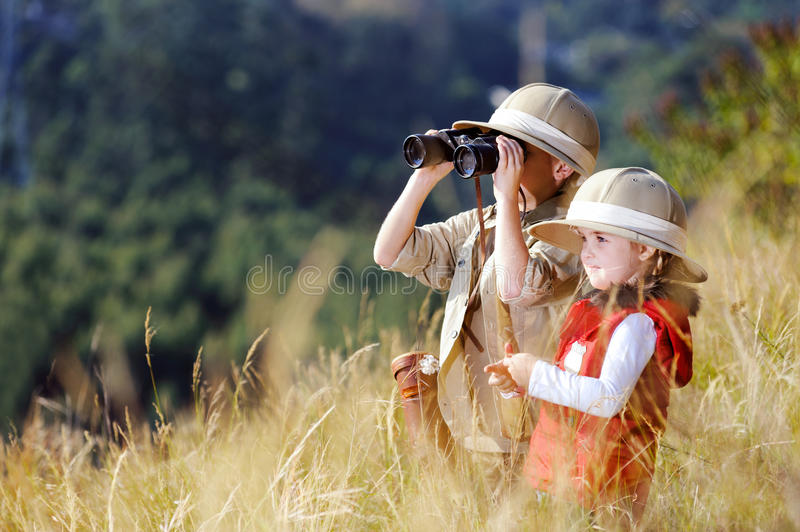Fun outdoor children playing stock image