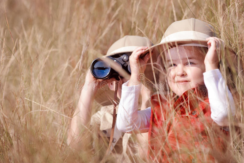 Fun outdoor children playing stock image