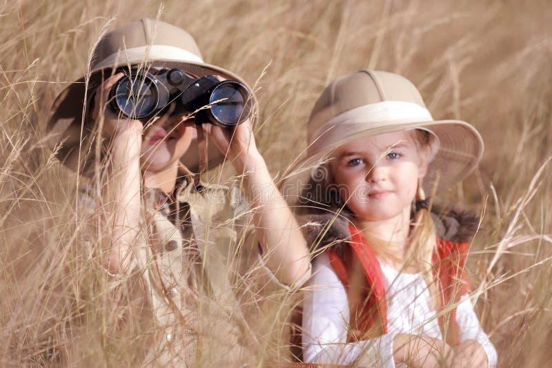 Fun outdoor children playing stock photos
