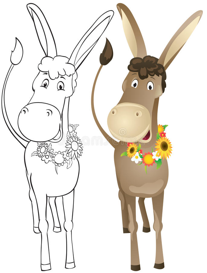 Download Fun outline donkey stock vector. Illustration of animal - 24664926