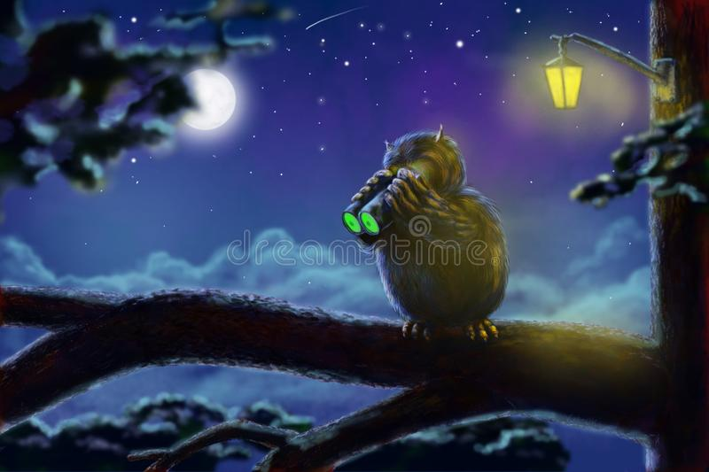 Fun owl hunter with night vision device stock illustration
