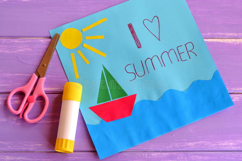 Arts And Crafts Ideas For Kids Summer Camp Part - 42: Download Fun Paper Holiday Card. Children Creativity Lesson Stock Photo -  Image Of Decoration,