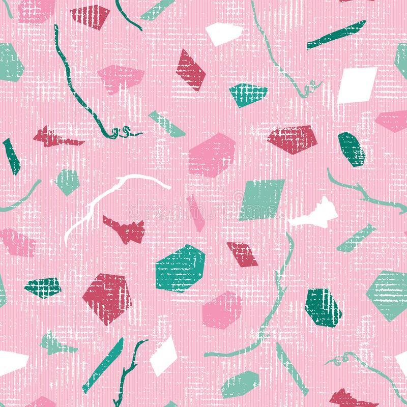 Fun pastel pink white and green large size terrazzo elements with branches and soil debris with a canvas texture on top. Vector. Seamless pattern. Seamless stock illustration