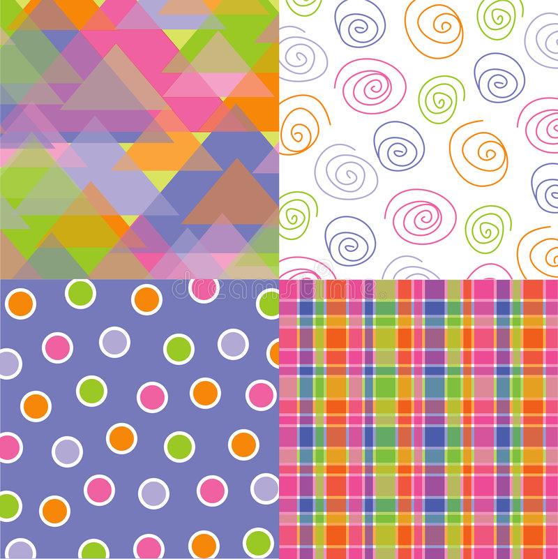 Fun pastel triangle quads. Fun pastel triangles, dots, plaid and scribble quads stock illustration