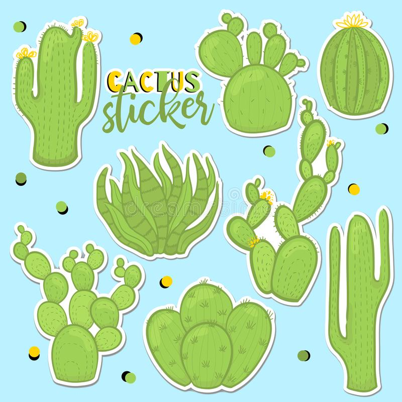 Fun patch cactus set. Print pin, badge, sticker, collection. Cactus vector illustration royalty free illustration